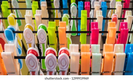 Multiple colorful clothespins, close up