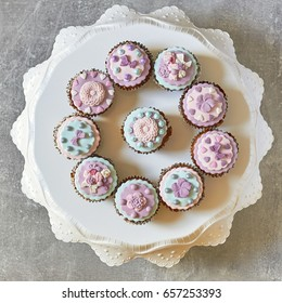 Multiple colorful nicely decorated muffins