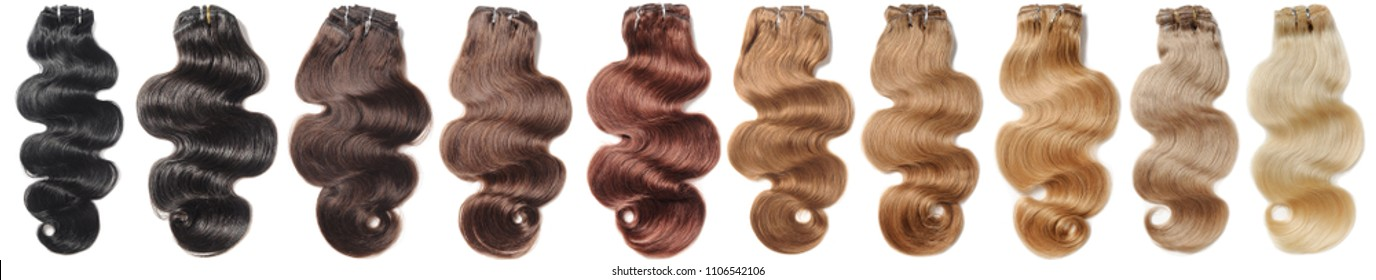 Multiple colors of clip in body wave human hair extensions collection