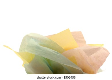 Multiple colors of tissue paper for a gift bag