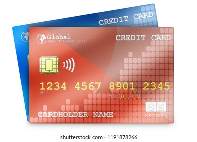Multiple credit cards arranged in a business setting.