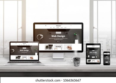 Multiple devices with modern, responsive, flat web site presentation.