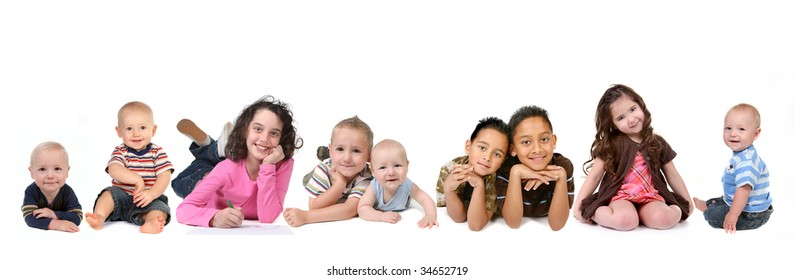 Multiple Ethnicities of Children of all Ages on White Background