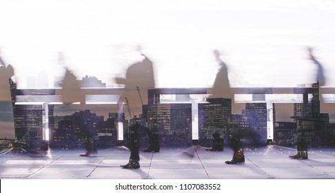 Multiple exposure abstract image of city commuters in London. Concept for management, corporate strategies, future cities, employment, digital transformation, business, finance, migration, governance