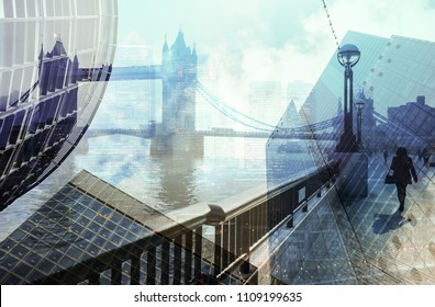 Multiple exposure of a city commuter walking and city skyscrapers in London, UK. Concept for management, corporate strategies, future cities, employment, digital transformation, business, finance.
