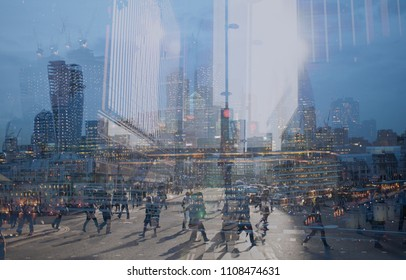 Multiple exposure of city commuters and skyscrapers in London. Concept for management, corporate strategies, future cities, employment, digital transformation, business, finance solutions, migration