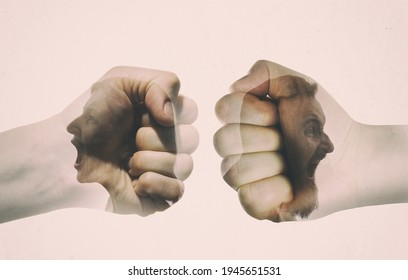 Multiple exposure with man and woman silhouette and clash of their fists. Concept of confronting.