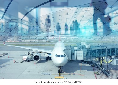 Multiple exposure of passenger wlaking in Aitport with departure airplane at the gate.
