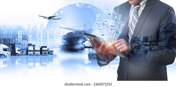 Multiple exposures of Businessman touching tablet for analyze stock at logistics port and world map with logistic network distribution on background, transportation trading business concept,