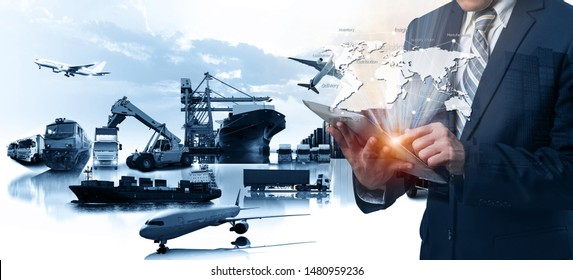 Multiple exposures of Businessman touching tablet for analyze stock at logistics port and world map with logistic network distribution on background, transportation trading business concept