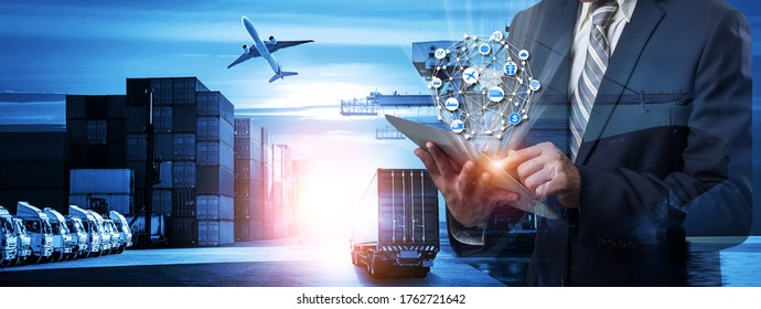 Multiple exposures of Businessman touching tablet for analyze stock at logistics port and world map with logistic network distribution on background, transportation trading business concept,  - Shutterstock ID 1762721642