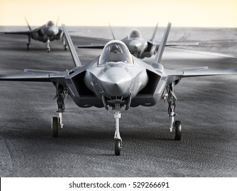 Multiple F35 military jet strike aircraft preparing for takeoff on a strike mission. 3d rendering