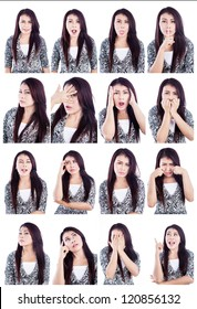 Multiple facial expressions of beautiful Asian woman isolated over white