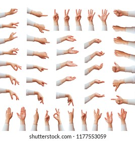 Multiple female caucasian hand gestures isolated over the white background, set of female hands