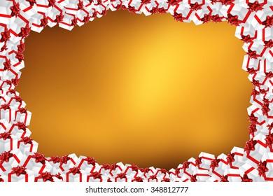 Multiple gifts on colorful background Xmas illustration