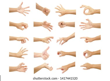 multiple hand with gestures of asian man for symbol to show out isolated on white background