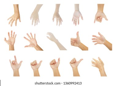 multiple hands collection of man and woman in gestures isolated on white background