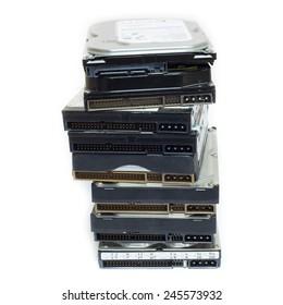 Multiple harddisk drives isolate on white background