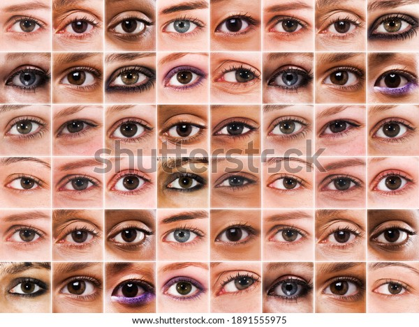 Multiple huan eyes in a large grid showing sight and big brother concept