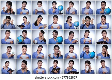 Multiple image of businesswoman doing various tasks