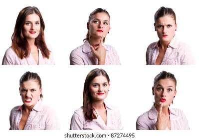 Multiple images of a young woman, all isolated against white
