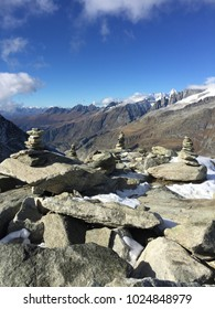 Multiple impressive cairns next to Aletsch Glacier, Wallis / Valais, Switzerland