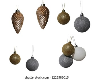 Multiple isolated sparkly and glittery Christmas ornaments hanging. Great material for backgrounds, cards, etc. Merry Christmas!