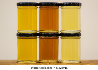 Multiple jars of isolated honey