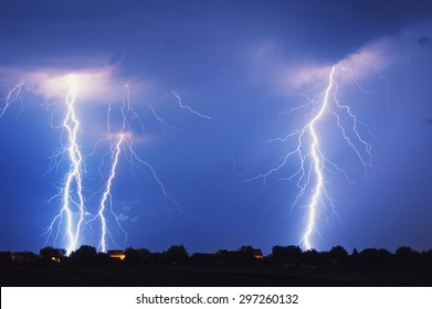 Multiple lightning strike at night