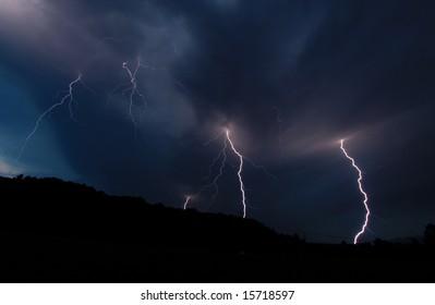 Multiple lightning strikes.