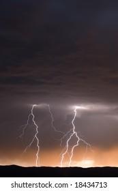 Multiple Lightning Strikes at Dusk