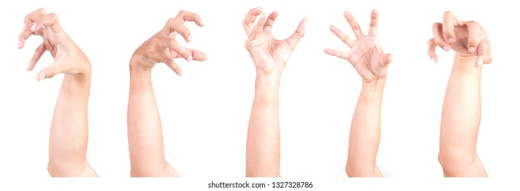 Multiple Male Caucasian hand gestures isolated over the white background, set of multiple images. ZOBIES HAND.