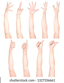 Multiple Male Caucasian hand gestures isolated over the white background, set of multiple images.