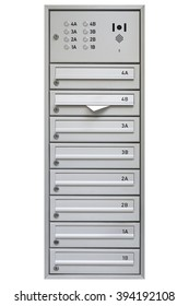 Multiple Modern Grey Mailbox with Door Phone with clipping path