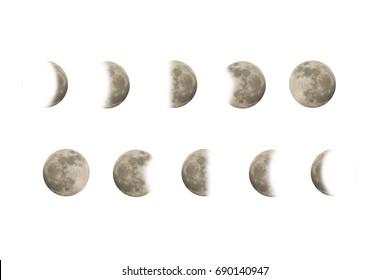 multiple moon on white background