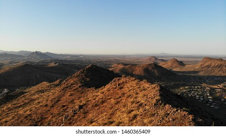 Multiple mountains in the McDowell mountain regional park, in Arizona, during the sunrise