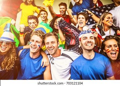 Multiple nations' fans at soccer stadium