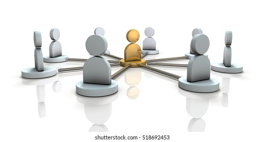 Multiple partners will cooperate with the leader. 3D illustration