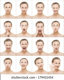 Multiple portrait of the same beautiful woman making different expressions