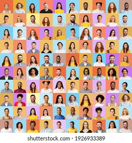 Multiple Portraits Of Young Happy And Successful Millennial People In Square Collage Over Different Colorful Backgrounds. Happy Human Faces Collection, Set Of Headshots. Social Diversity Concept