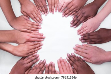 Multiple Race hand heart white background hands with arms