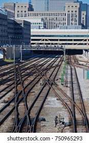 Multiple railroad switches and tracks in Chicago