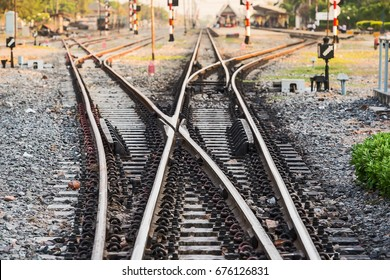 Multiple railway track switches , symbolic photo for decision, separation and leadership qualities.