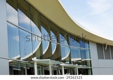multiple reflections curved roofline sky stock photo edit now