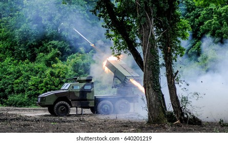 Multiple rocket launcher firing ground to ground missiles