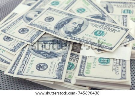 Multiple Scattered American 100 Dollar Banknotes Stock Photo (Edit ...