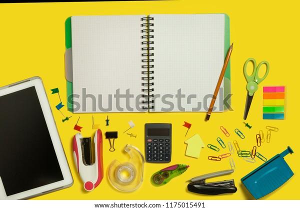 Multiple School Office Suplies Gadgets Lying Stock Photo