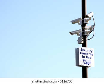 Multiple security cameras on a pole, with space for copy