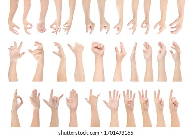 Multiple set of male hands gestures isolated on white background. with clipping path.