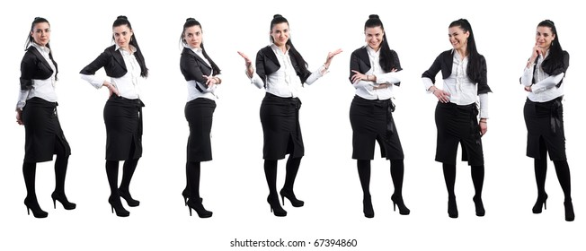 Multiple shot of young business woman in various position isolated on white, hi res